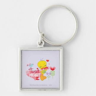 Tweet Heart Silver-Colored Square Key Ring