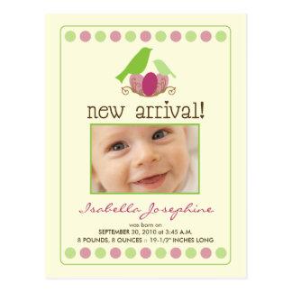 Tweet Tweet Baby Announcement Postcard (lime)