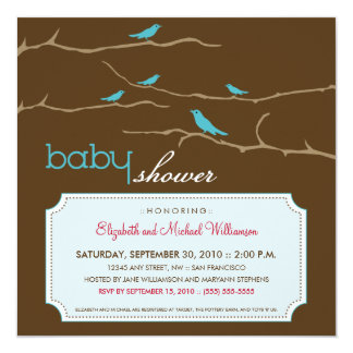 Tweet! Tweet! Baby Shower Invitation (aqua)