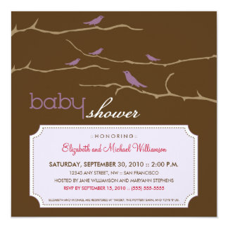 Tweet! Tweet! Baby Shower Invitation (lavender)