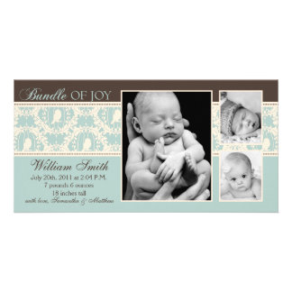 Tweet Tweet Boy Announcement Card Personalized Photo Card