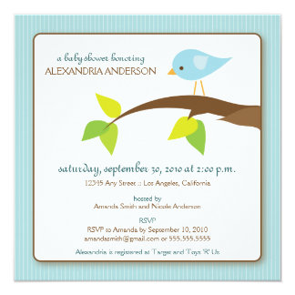 Tweet Tweet Custom Baby Shower Invitation (blue)