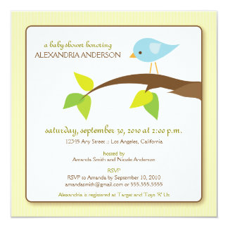 Tweet Tweet Custom Baby Shower Invitation (creme)
