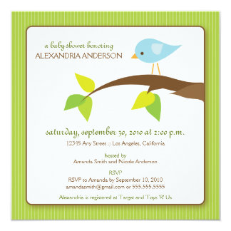 Tweet Tweet Custom Baby Shower Invitation (lime)