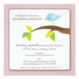 Tweet Tweet Custom Baby Shower Invitation (pink)