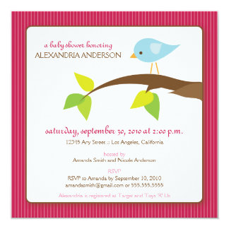 Tweet Tweet Custom Baby Shower Invitation (rose)