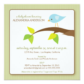 Tweet Tweet Custom Baby Shower Invitation (sage)