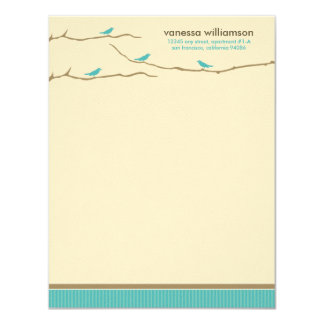Tweet! Tweet! Custom Flat Note Cards (aqua)