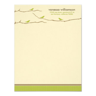 Tweet! Tweet! Custom Flat Note Cards (lime green)