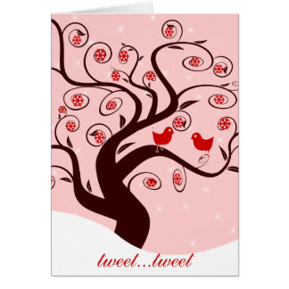 Tweet Tweet Cute Birds Swirl Tree Sweet Holidays Card