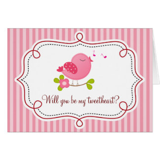 Tweetheart Bird Valentine's Day Card (Pink)