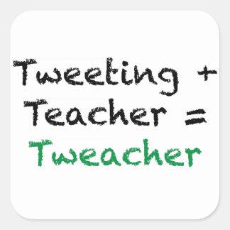 Tweeting + Teacher = Tweacher Square Stickers