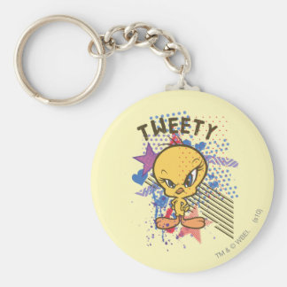 Tweety Angry 2 Basic Round Button Key Ring