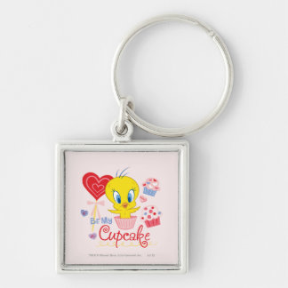 TWEETY™ Be My Cupcake Silver-Colored Square Key Ring