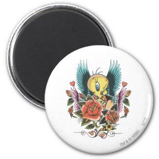 Tweety Blue Wings 6 Cm Round Magnet