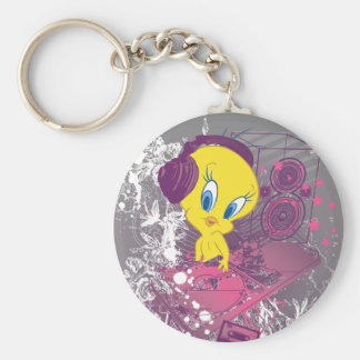 Tweety Djing Basic Round Button Key Ring