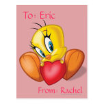 Tweety Holding Heart Post Cards