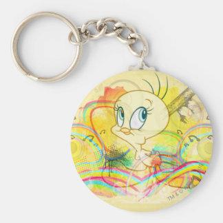 Tweety In Rainbows Basic Round Button Key Ring