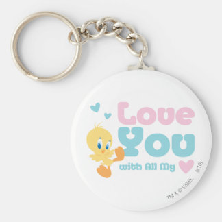 """Tweety """"Love You With All My Heart"""" Basic Round Button Key Ring"""