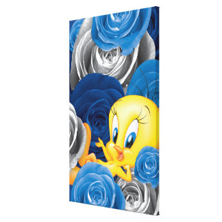 Tweety With Roses Canvas Print