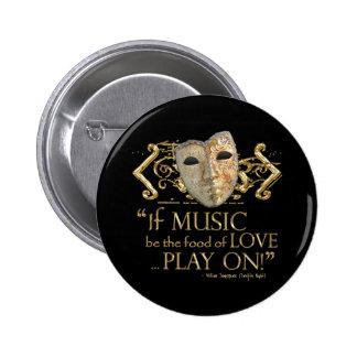 Twelfth Night Music Quote (Gold Version) 6 Cm Round Badge
