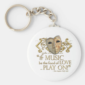 Twelfth Night Music Quote (Gold Version) Basic Round Button Key Ring