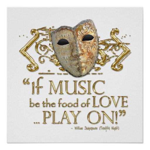 Twelfth Night Music Quote (Gold Version) Print