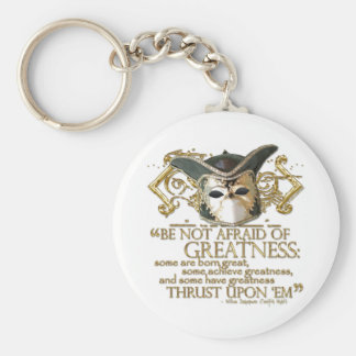 Twelfth Night Quote (Gold Version) Basic Round Button Key Ring