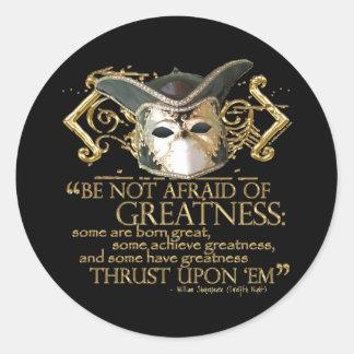 Twelfth Night Quote (Gold Version) Round Stickers