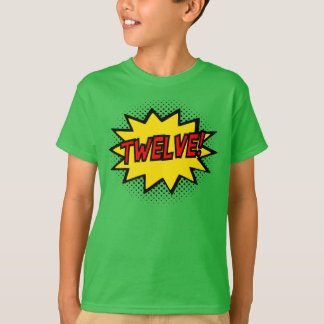 TWELVE! 12th Birthday Gift Superhero Logo T-Shirt