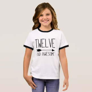 Twelve and Awesome 12th Birthday Gift (Light) Ringer T-Shirt