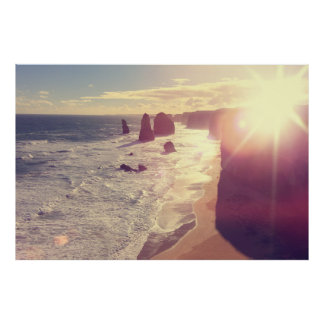 Twelve Apostles Sun Flare Sea Victoria Australia Print