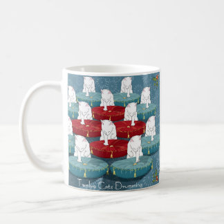 Twelve Cats Drumming... Holiday Coffee Mug