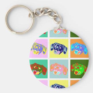 Twelve Colorful Dachshunds Key Ring