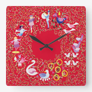 Twelve days of Christmas, style2 Square Wall Clock