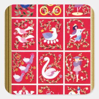 Twelve Days of Christmas, the traditional carol Square Sticker