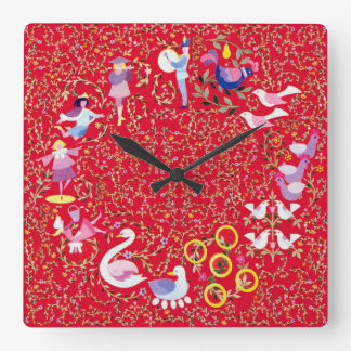 Twelve days of Christmas, traditional carol Square Wall Clock