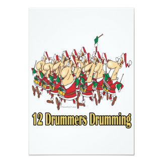 twelve drummers drumming 12th twelfth day 13 cm x 18 cm invitation card