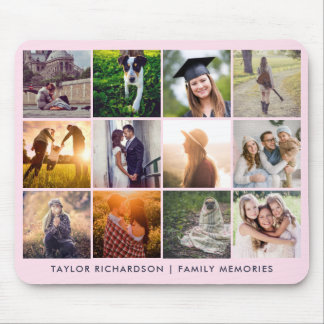 Twelve Photo Collage | Trendy Blush Pink Mouse Mat