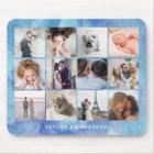 Twelve Photo Collage | Watercolor Blue Mouse Mat