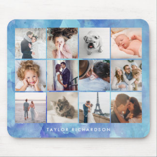 Twelve Photo Collage | Watercolor Blue Mouse Mat