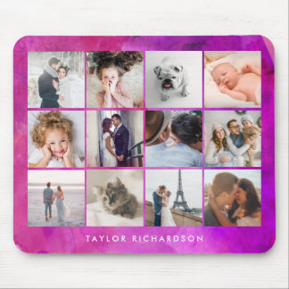 Twelve Photo Collage | Watercolor Magenta Mouse Mat