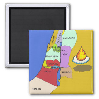 Twelve Tribes of Israel Map Square Magnet