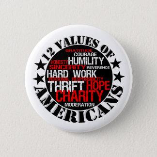 Twelve Values of Americans 6 Cm Round Badge