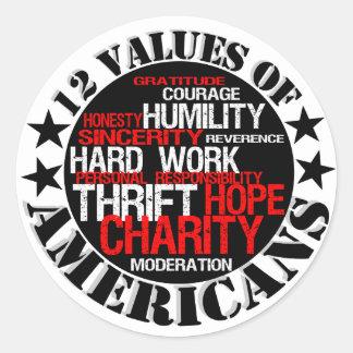 Twelve Values of Americans Classic Round Sticker