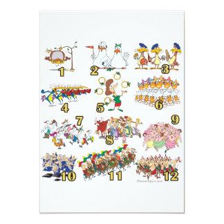 twelves days christmas song cartoon 13 cm x 18 cm invitation card