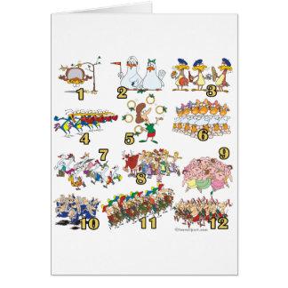 twelves days christmas song cartoon greeting card