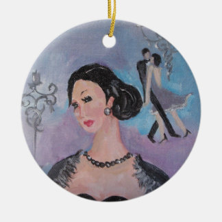 Twenties Dance round pendant by Marie Theron Christmas Ornament