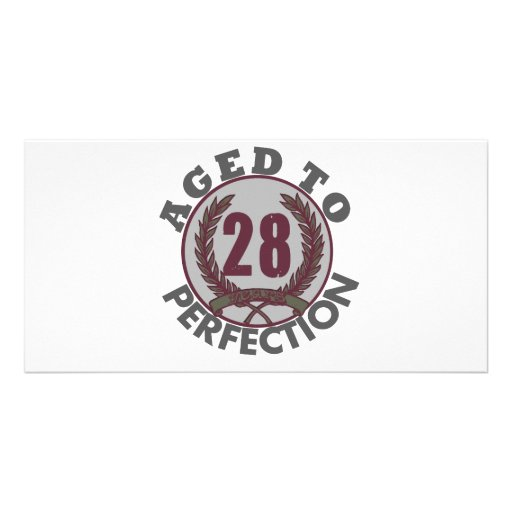 Twenty Eight and aged to Perfection Birthday Personalized Photo Card