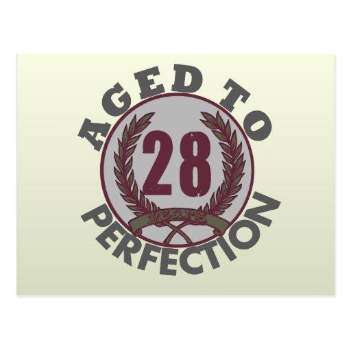 Twenty Eight and aged to Perfection Birthday Postcard